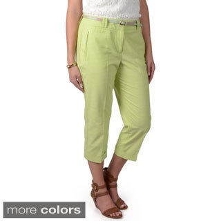 Journee Collection Women's Slim Fit Belted Capri Pants