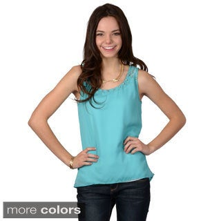 Hailey Jeans Co. Junior's Sleeveless Studded Chiffon Top