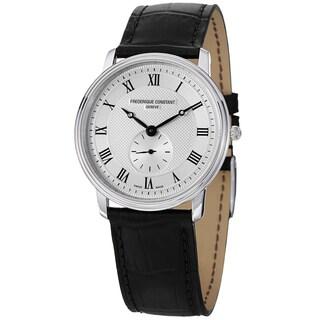 Frederique Constant Women's FC-235M4S6 'Slim Line' Silver Dial Black Strap Watch