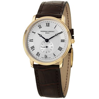 Frederique Constant Women's FC-235M4S5 'Slim Line' Silver Dial Brown Strap Watch