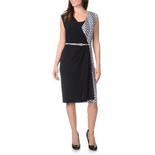 R & M Richards Women's Black and White Mock Wrap Belted Dress