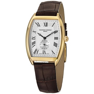 Frederique Constant Women's FC-235M3T25 'Art Deco' Silver Dial Brown Strap Watch