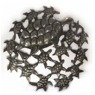 Handcrafted Recycled Steel Oil Drum School of Turtles Wall Art (Haiti)