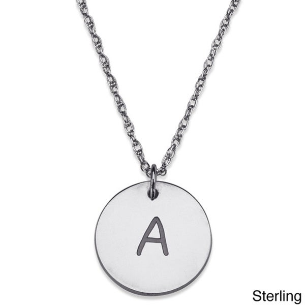 Sterling Silver Initial Disc Pendant