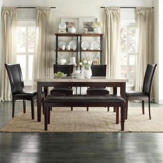 TRIBECCA HOME Sonata Black Brown Marble 6-piece Modern Dining Set
