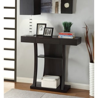 Cappuccino T-shaped 2-shelf Console Table