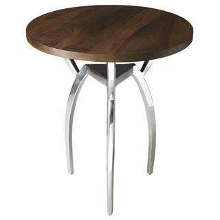 Sleek Aluminum/ Sheesham Wood Tripod Accent Table