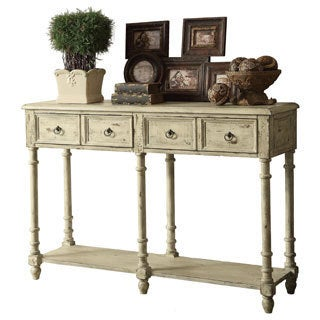 Antique Ivory Vintage 2-drawer Console Table