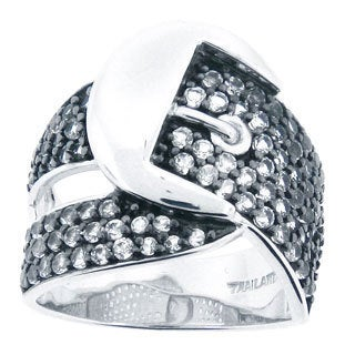 Meredith Leigh Sterling Silver White Topaz Buckle Ring