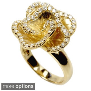 Sonia Bitton Platinum or Goldplated Sterling Silver Satin Finish Flower Ring