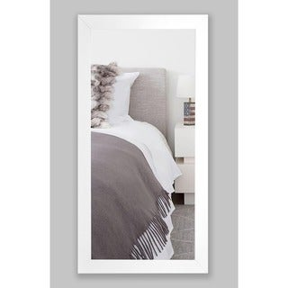 American Made Rayne Satin White Wide Tall Mirror