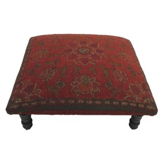 Corona Decor Floral/ Leaf Design Red Footstool