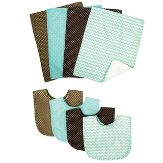 Trend Lab Cocoa Mint 8-piece Bib and Burp Cloth Set
