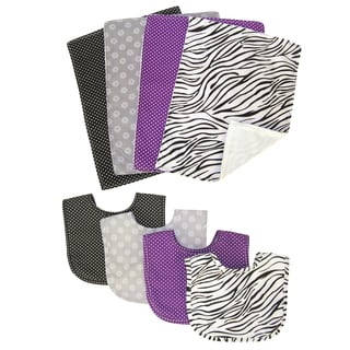 Trend Lab Grape Expectations 8-piece Bib and Burp Cloth Set