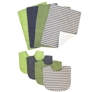 Trend Lab Perfectly Preppy 8-piece Bib and Burp Cloth Set