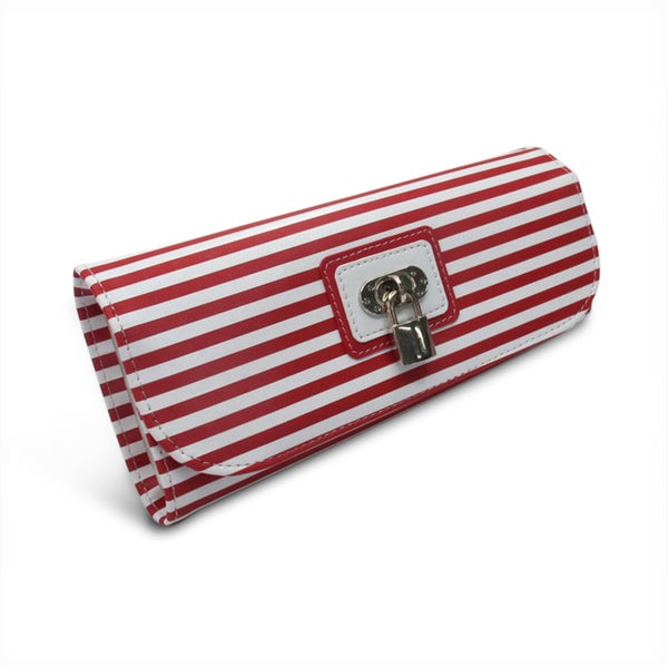 Morelle Red Striped Jewelry Roll