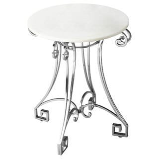 White Marbletop Silverton Iron Base Accent Table