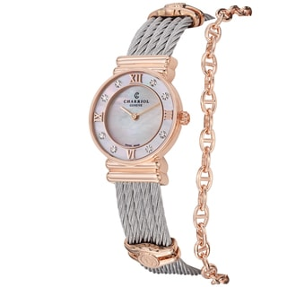 Charriol Women's 028PD1.540.552 'St Tropez' Mother of Pearl Diamond Dial Two Tone Watch