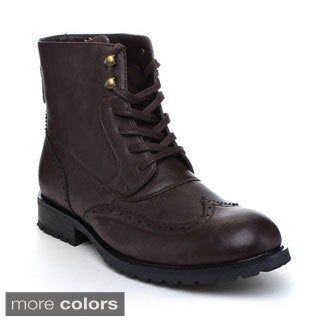 Arider Men's 'Bull-2' Wing Tipped Lace-up Ankle Boots