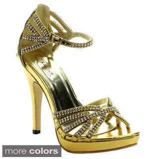 I Heart Collection Women's 'Jewel-5' Rhinestone-strap Ankle Strap Pumps