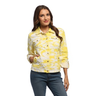 Live A Little Women's Yellow/ White Tie-dye Jean Jacket