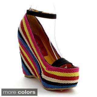 Fahrenheit Women's 'Fargo-01' Colorful Knit Wedges