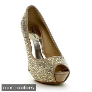 Reneeze Women's 'Judy-1' Rhinestone-studded Peep-toe Heels