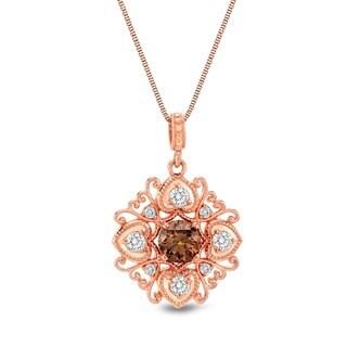 Auriya 14k Rose Gold 7/8ct TDW Brown Diamond Necklace (G-H, I1-I2)