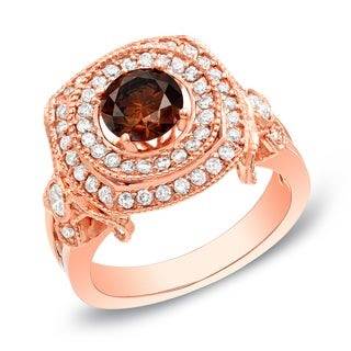 Auriya 14k Rose Gold 2ct TDW Round Brown Diamond Ring (G-H SI1-SI2)