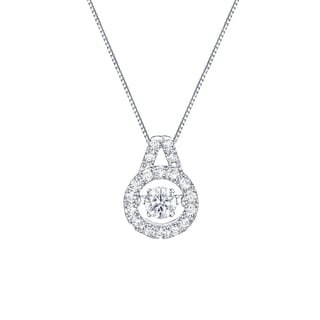 Auriya 14k White Gold 3/8ct TDW 'Dancing Stone' Diamond Halo Necklace (G-H, I1-I2)