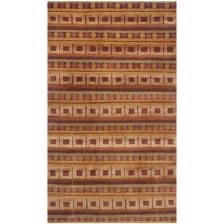 Safavieh Hand-knotted Nepalese Rust/ Multi Wool/ Silk Rug (4' x 6')
