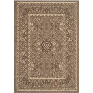 Safavieh Indoor/ Outdoor Courtyard Brown/ Cream Rug (4' x 5'7)