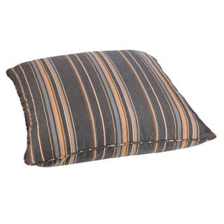 Grey/ Orange Stripe 28-inch Square Indoor/ Outdoor Floor Pillow with Sunbrella Fabric