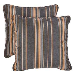 Grey/ Orange Stripe Corded Indoor/ Outdoor Square Throw Pillows with Sunbrella Fabric (Set of 2)