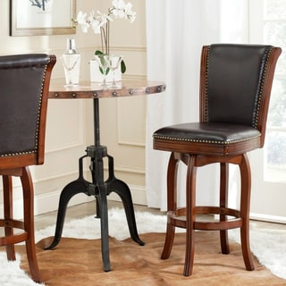 Safavieh Massimo Walnut/ Brown Seat 29-inch Swivel Bar Stool