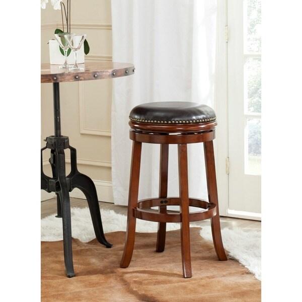 Safavieh Biagio Walnut/ Brown Seat 29-inch Bar Stool