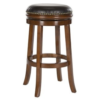Safavieh Biagio Walnut/ Brown Seat Bar Stool