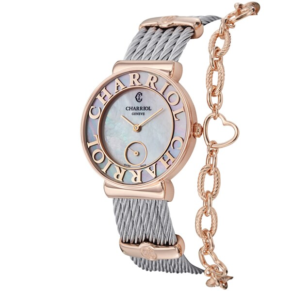 Charriol Women's ST30PC.560.014 'St Tropez Love' Mother of Pearl Dial Two Tone Watch 12805360