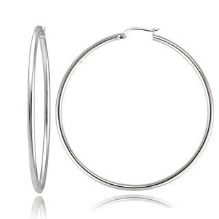 Mondevio Sterling Silver High Polished Round Hoop Earrings