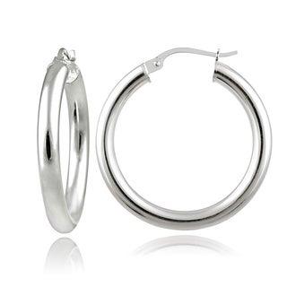 Mondevio Sterling Silver High Polished 25mm Round Hoop Earrings (3mm)