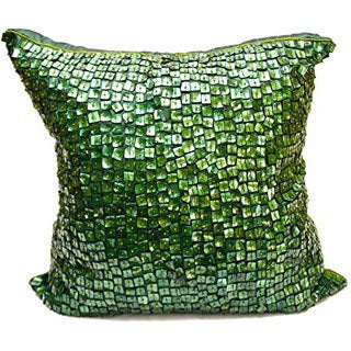 Debage Emerald Green Mother of Pearl Collection Feather-filled Throw Pillow