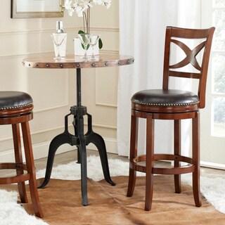 Safavieh Santino Walnut/ Brown Seat 29-inch Swivel Bar Stool