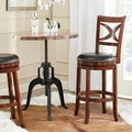Safavieh Santino Walnut/ Brown Seat Bar Stool