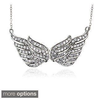Icz Stonez Sterling Silver 1ct TGW Cubic Zirconia Angel Wings Necklace