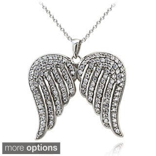 Icz Stonez Sterling Silver 1 3/8ct TGW Cubic Zirconia Angel Wings Necklace