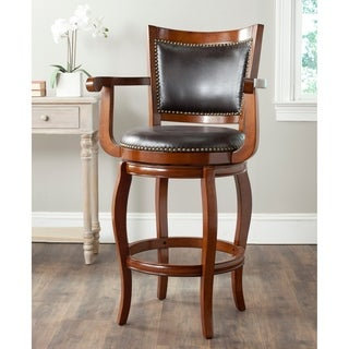 Safavieh Gitano Walnut/ Brown Seat 29-inch Bar Stool