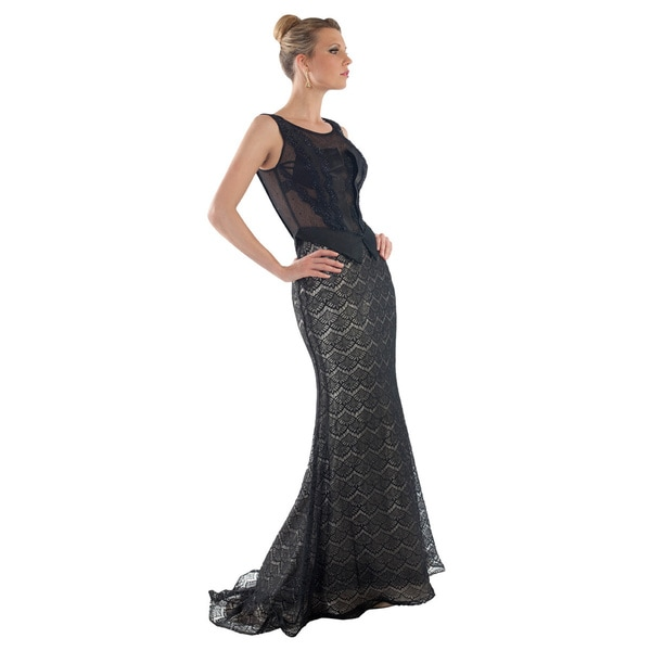 Daniella Couture Women's Black Lace Overlay Gown