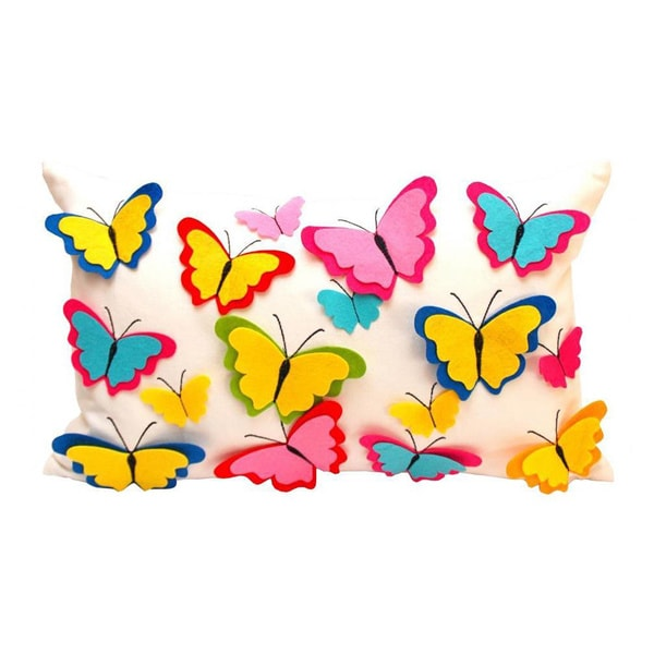 Debage The Spring Rainbow Butterfly Throw Pillow