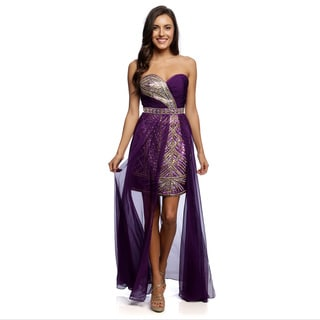 Daniella Couture Women's Purple Rhinestone Beaded Sheer-overlay Dress