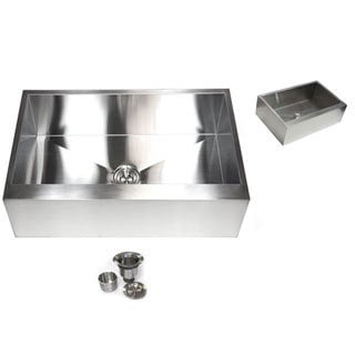36-inch Stainless Steel 16-gauge Farmhouse Single Bowl Flat Apron Kitchen Sink and Accessories